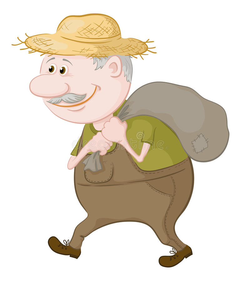 Man carries a sack vector illustration