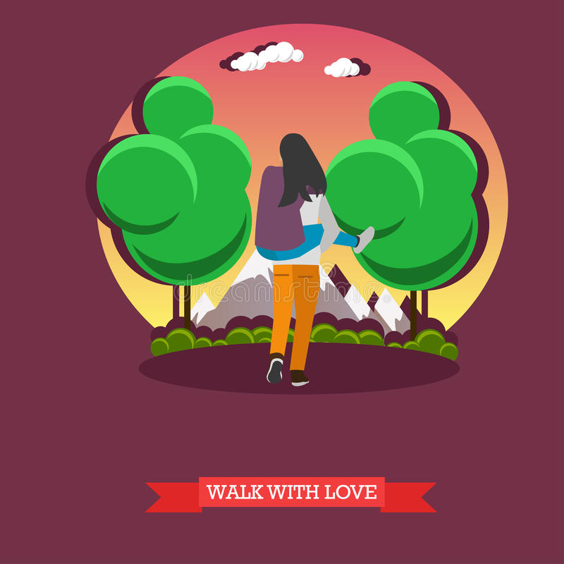 Man carry his girlfriend on back. Romantic happy couple concept vector illustration. Man carry his girlfriend on his back. Romantic happy couple concept vector vector illustration