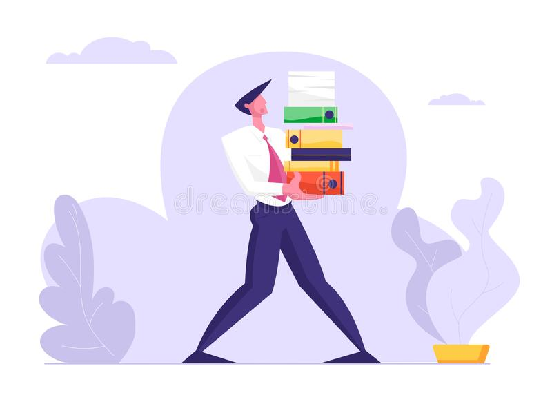 Man Carry Huge Steak av dokumentmappar Affärsman överbelastning för tecken för kontorsanställd på arbete vektor illustrationer