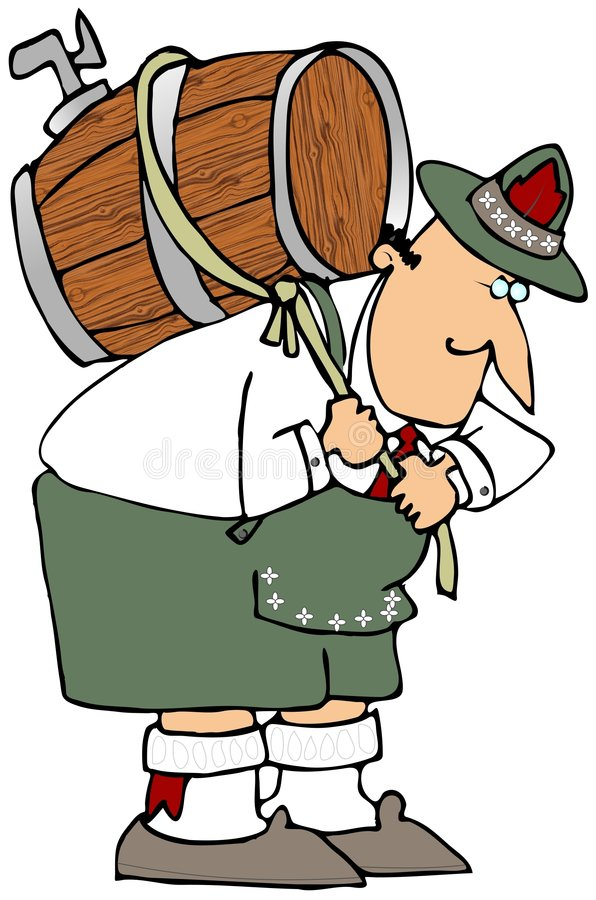 Man Carrying Beer Keg. This illustration depicts a man in Bavarian Clothing carrying a beer keg on his back vector illustration