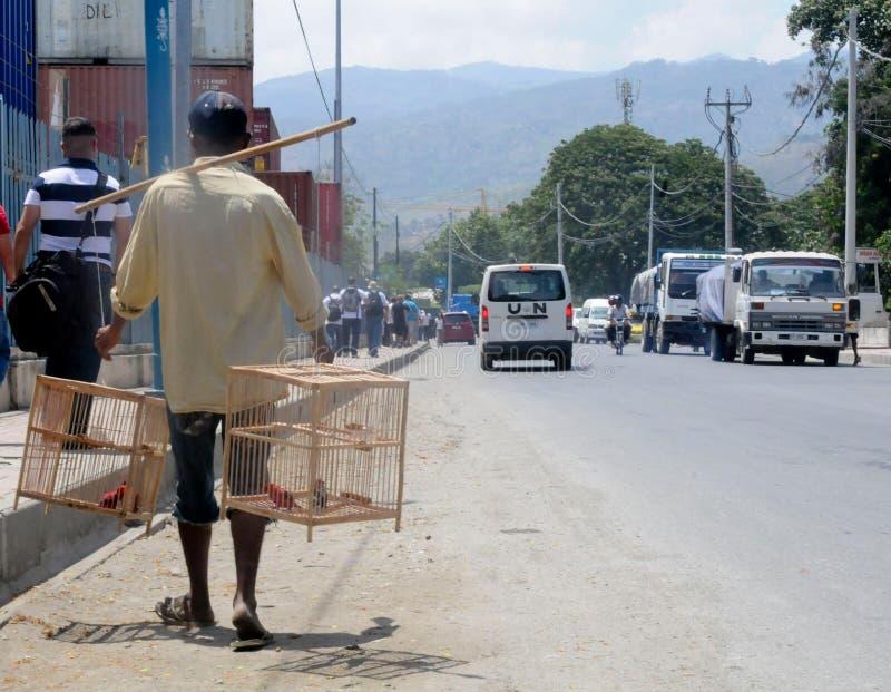 Man Carrying Birds stock photos