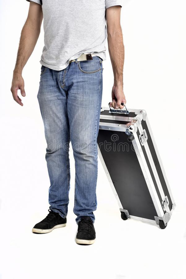Man carrying black briefcase on white background stock images