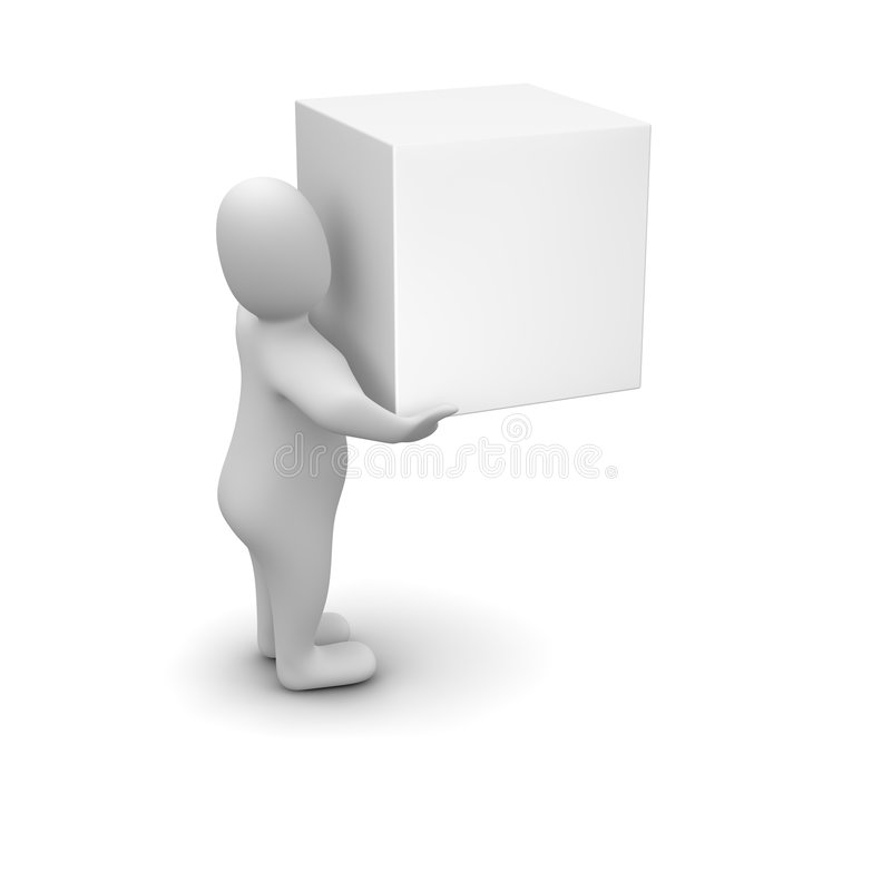 Download Man Carrying Blank Box Royalty Free Stock Image - Image: 9193106