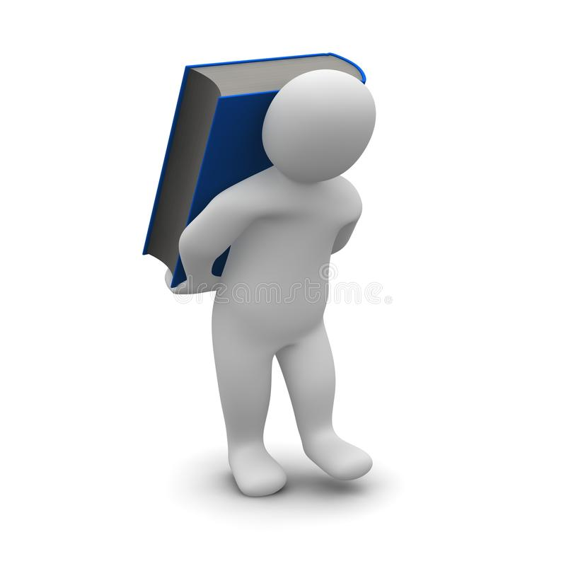 Download Man Carrying Blue Heavy Book Stock Photography - Image: 13582492