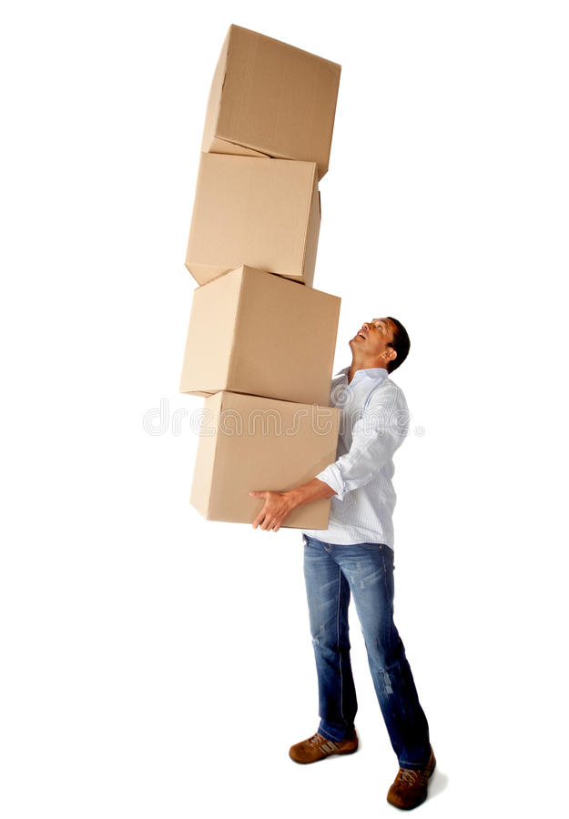 Download Man carrying boxes stock photo. Image of casual, carton - 23033780