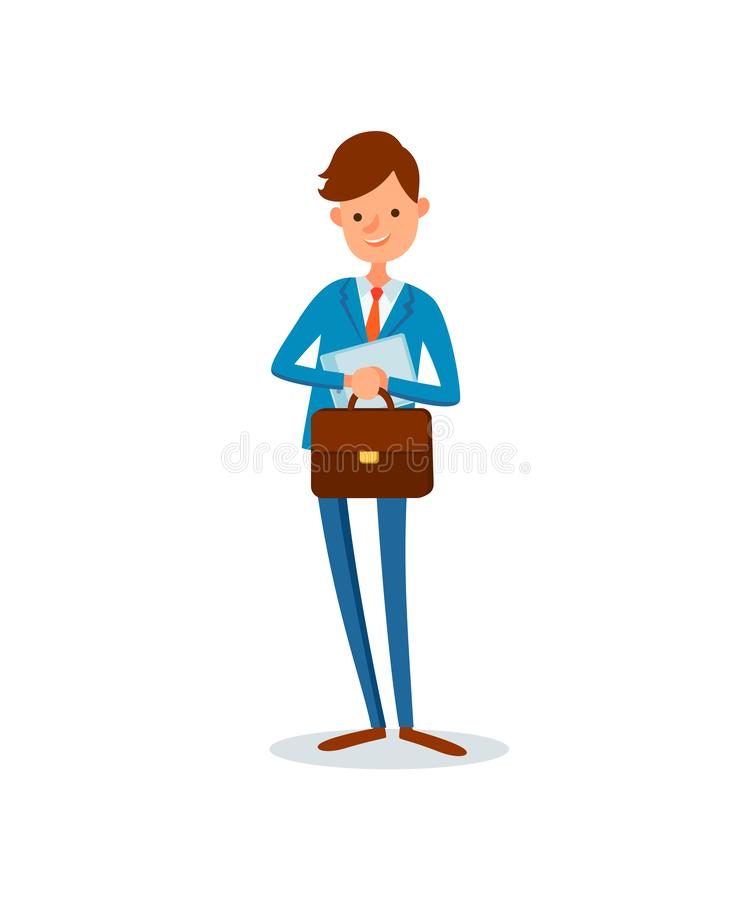 Man Carrying Briefcase Business Activities of Boss vector illustration