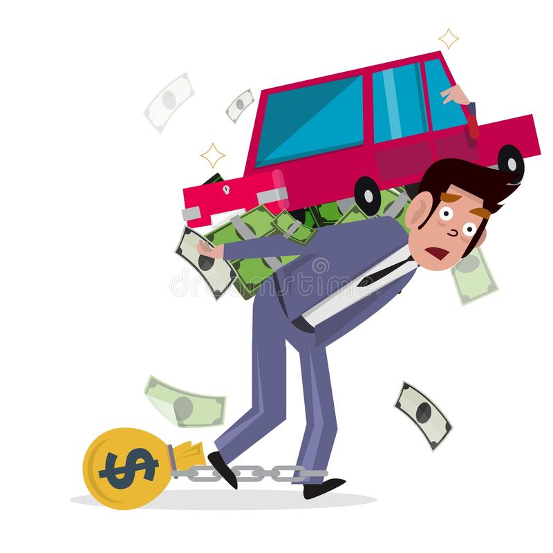 Man carrying car with money. loan from car. concept of debt and stock illustration