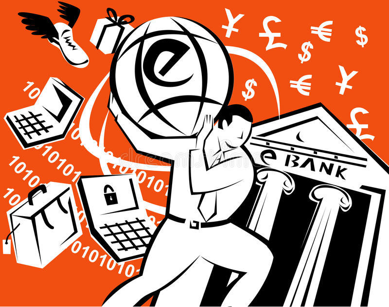 Man carrying e-commerce globe. Vector illustration showing e-commerce on the internet, buying and selling goods and commodities