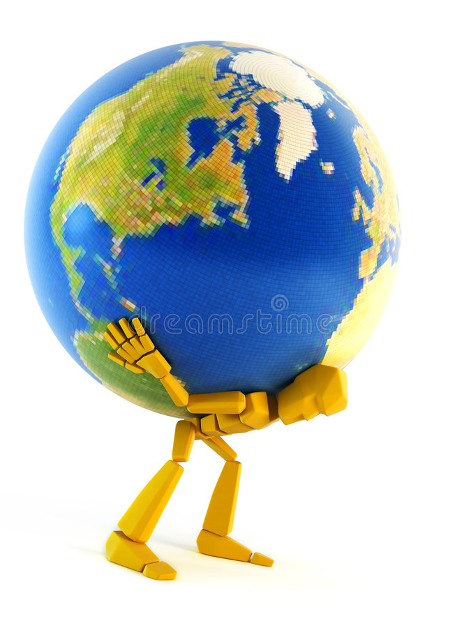 Man carrying the Earth vector illustration