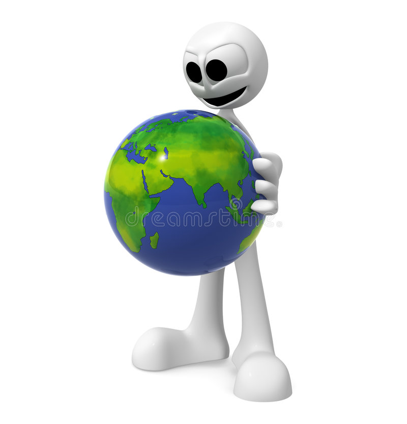 Man Carrying Globe stock illustration