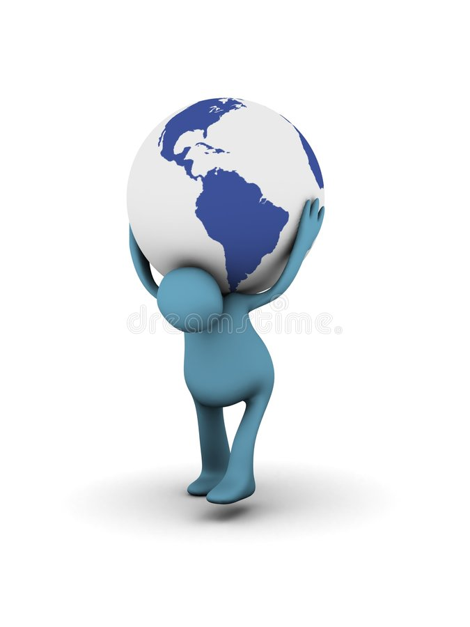 Man carrying globe on shoulders royalty free illustration