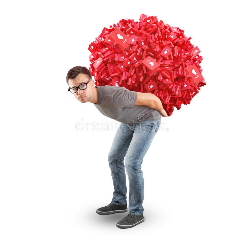 Man carrying a heap of social media Like Symbols - isolated on white. A man in jeans and t-shirt is carrying a 3d rendered heap of social media like symbol on royalty free stock photo