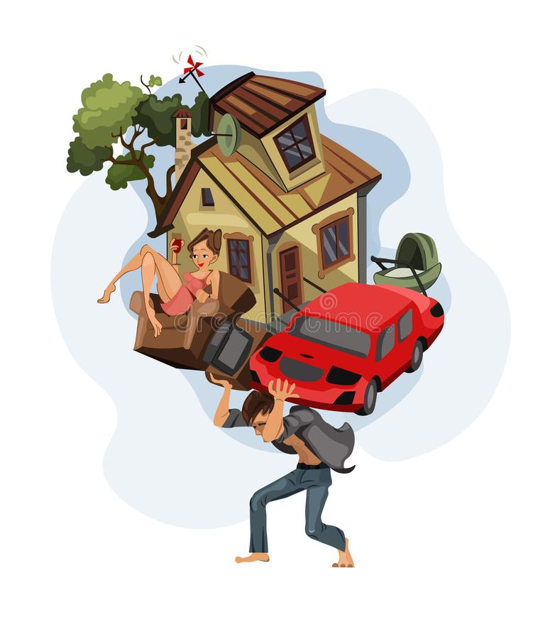 Man carrying a house and car on his back Vector cartoon illustration. Money, work, dept, Credit history concepts royalty free illustration