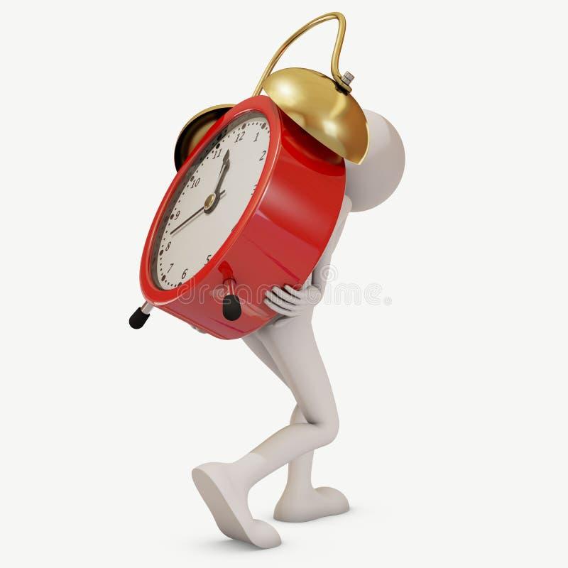 Man carrying huge alarm clock stock images