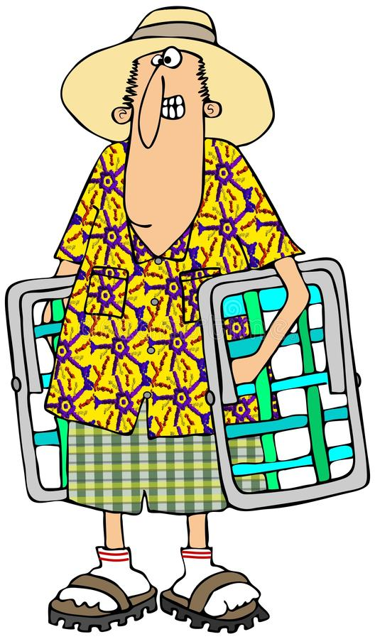 Download Man carrying lawn chairs stock illustration. Image of male - 32642662