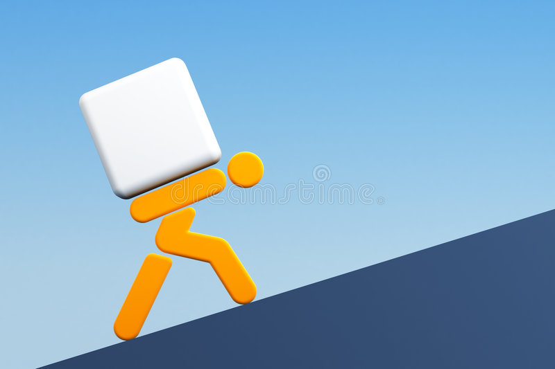 Man carrying the load royalty free illustration