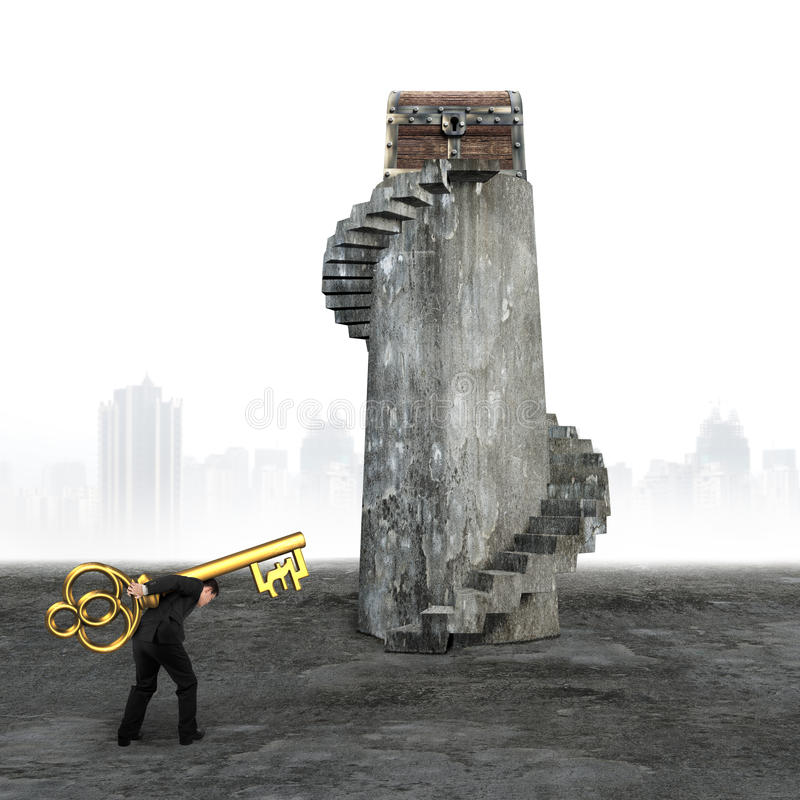 Man carrying pound symbol key toward treasure chest. Man carrying pound symbol key and walking toward the treasure chest on top of spiral staircase stock photo