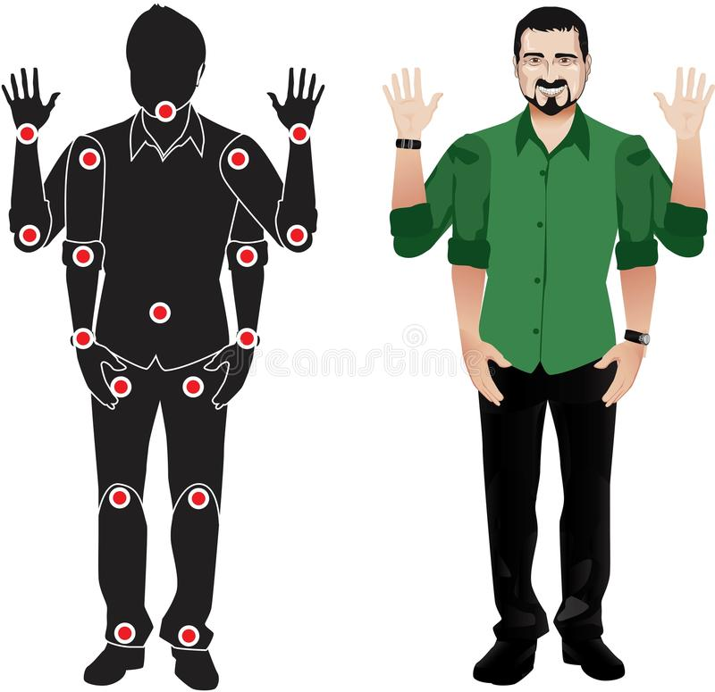 Man cartoon character in formal shirt, animation ready vector doll with separate joints. Gestures. With black beard. FOR ANIMATION. man character in shirt, doll vector illustration