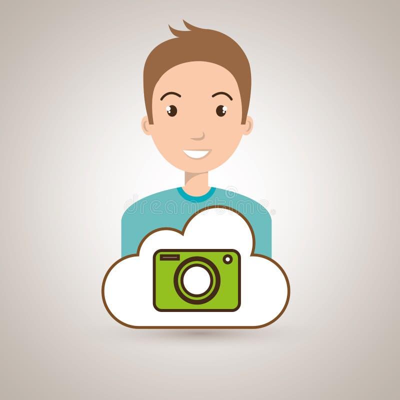 Man cartoon cloud camera. Illustration eps 10 vector illustration