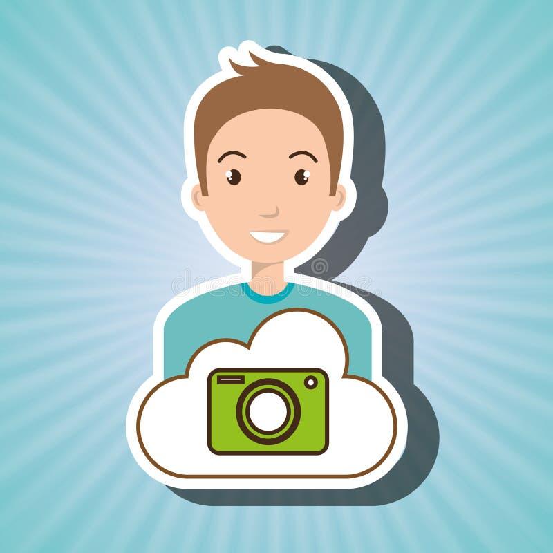 Man cartoon cloud camera. Illustration eps 10 stock illustration