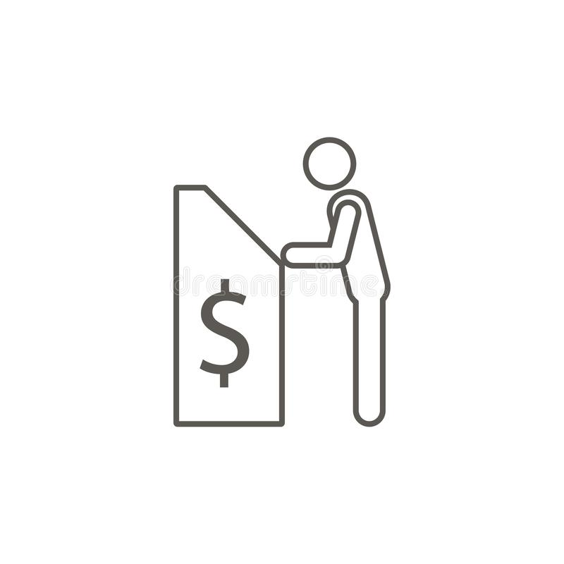 Man and cashier machine vector icon. Simple element illustration from map and navigation concept. Man and cashier machine vector stock illustration