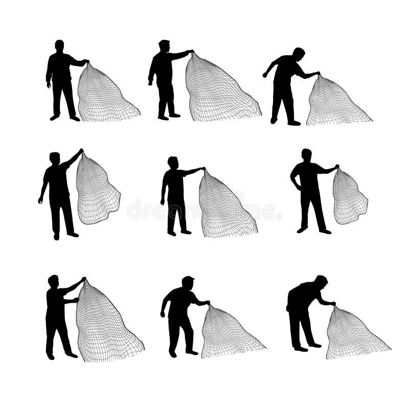 Man casting a net vector silhouettes stock photos