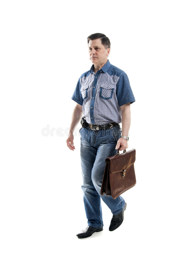 Man in casual with briefcase royalty free stock photo