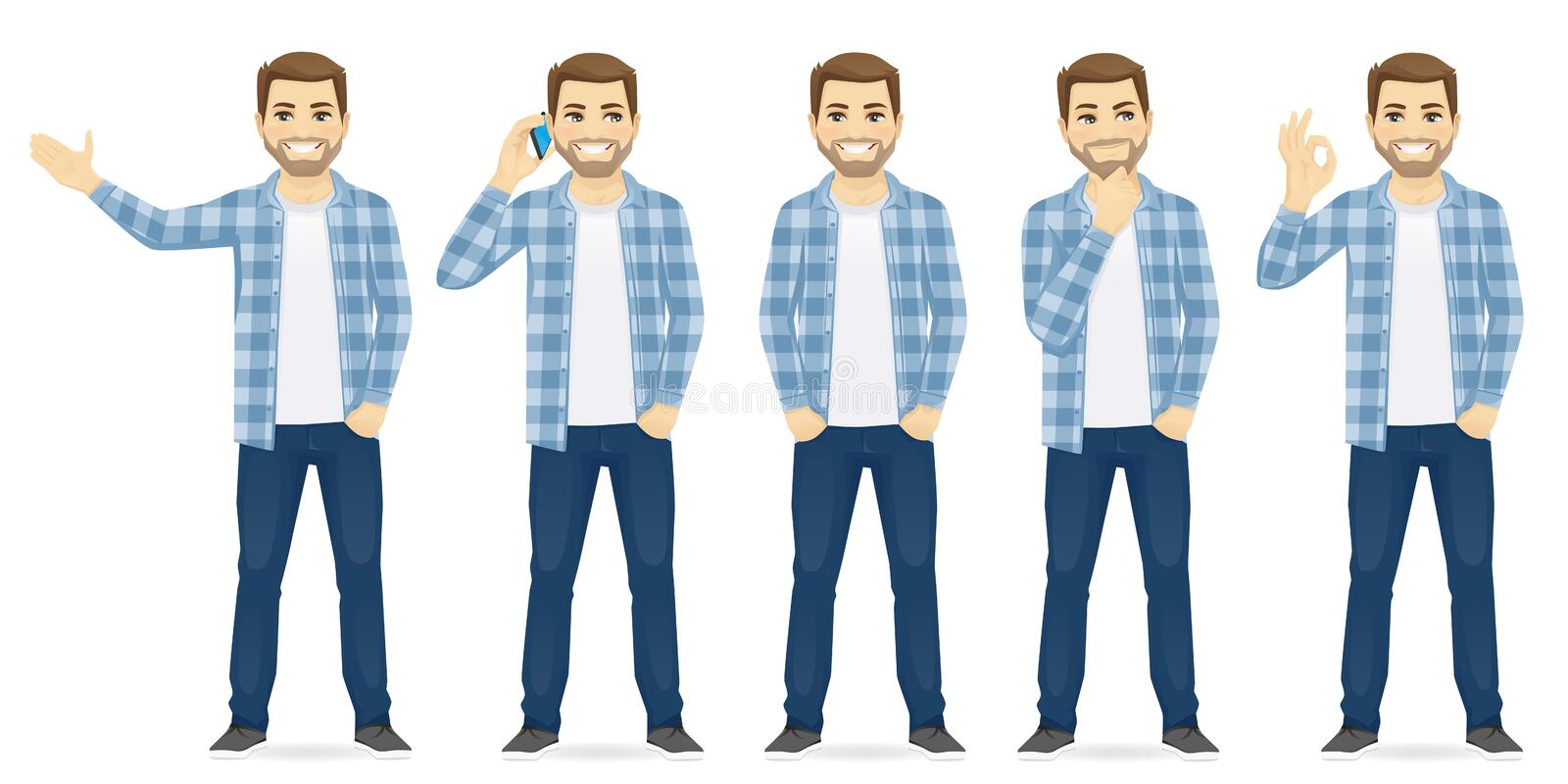 Man casual clothers. In different poses vector set collection illustration stock illustration