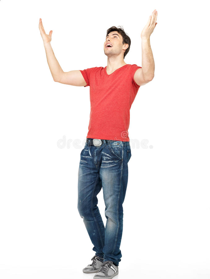 Download Man With  In Casuals With Raised Hands Up Isolated Stock Image - Image: 29524481