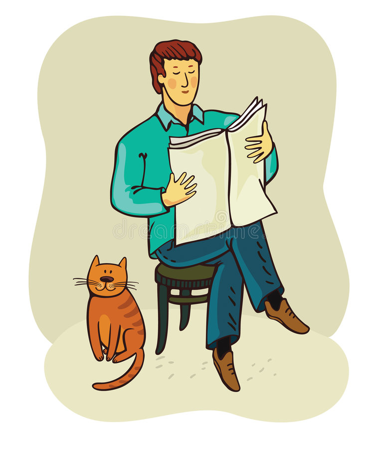 Download Man and cat(vector) stock vector. Image of learn, person - 8576049