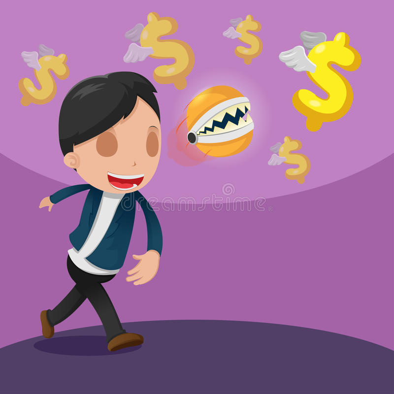 Man Catch Dollar Currency Money. Vector stock illustration