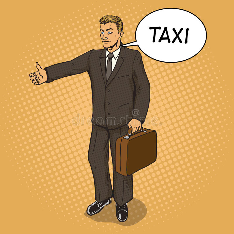 Man catch taxi pop art style vector. Illustration. Comic book style imitation stock illustration