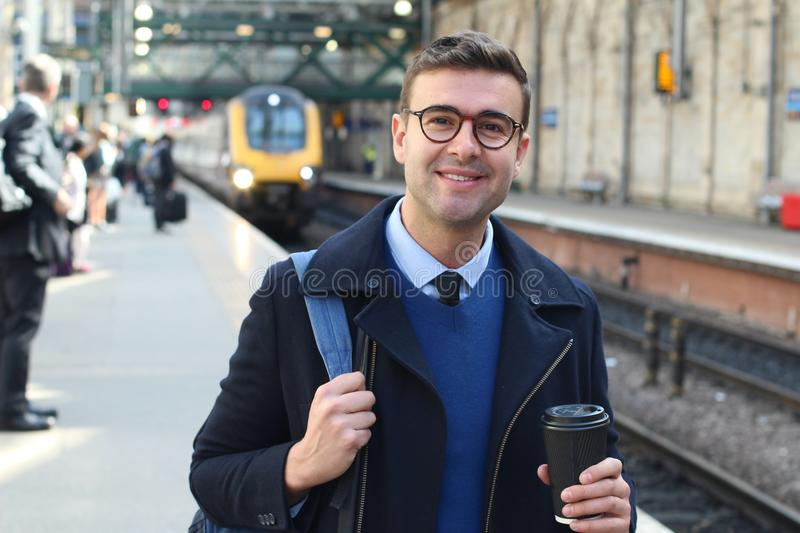 Man catching an early morning train.  royalty free stock images