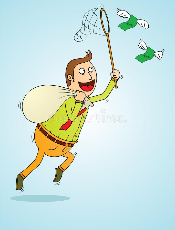 Man catching flying money stock illustration