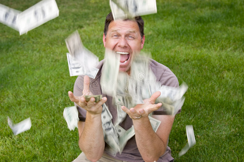 Man catching paper money royalty free stock photos