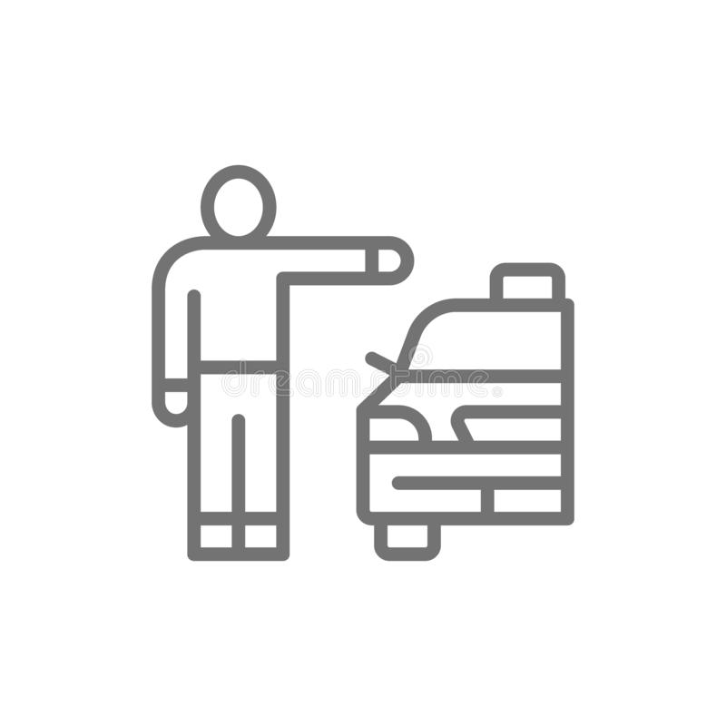 Man catching taxi cab, hitchhiking line icon. Vector man catching taxi cab, hitchhiking line icon. Symbol and sign illustration design. Isolated on white stock illustration