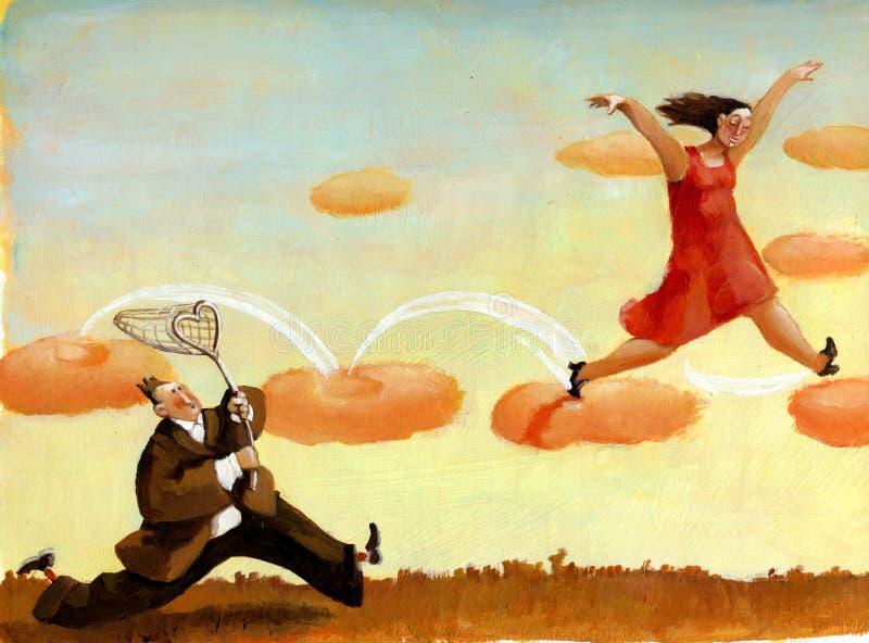 Man catching woman stock illustration