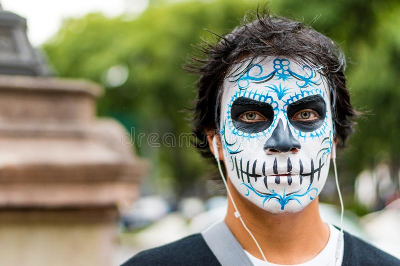 Man with catrina's costume on day of the death festival stock photography