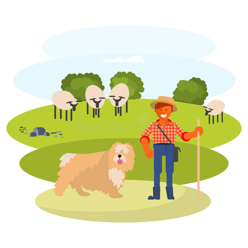 Man cattleman with Shepherd dog. Young man cattleman with his Shepherd dog graze sheep in pasture. Flat Cartoon Character of pet and his owner. Colorful Vector stock illustration