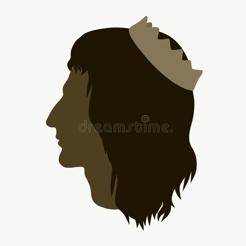A man of Caucasian appearance with a crown and long hair.  royalty free illustration