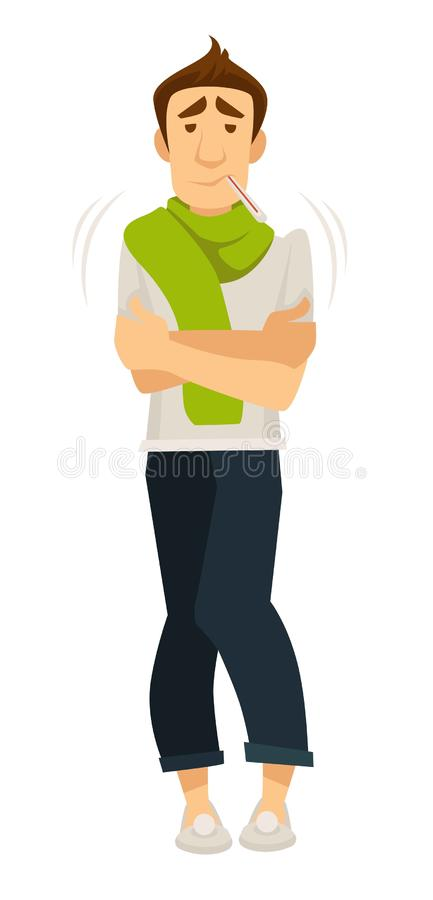 Man caught cold person shaking from fever and high temperature. Vector male with thermometer in mouth patient with illness disease of human body sick organism royalty free illustration