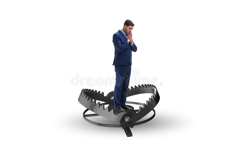 The man caught in mouse trap in risk business concept stock image