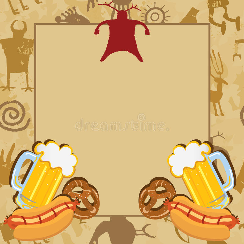 Man Cave Bachelor Party Invitation. Card with cave drawings beer, pretzels and hotdogs royalty free illustration
