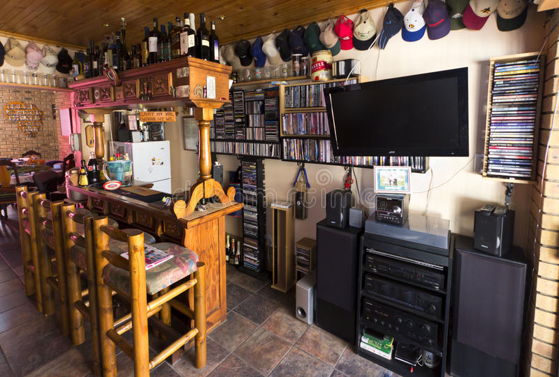 Man Cave Resale : Man cave or bar area editorial photography image of