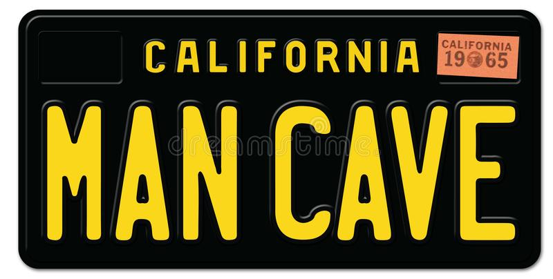 Man Cave License Plate. California Retro Black Metal Embossed 1965 old vintage royalty free illustration
