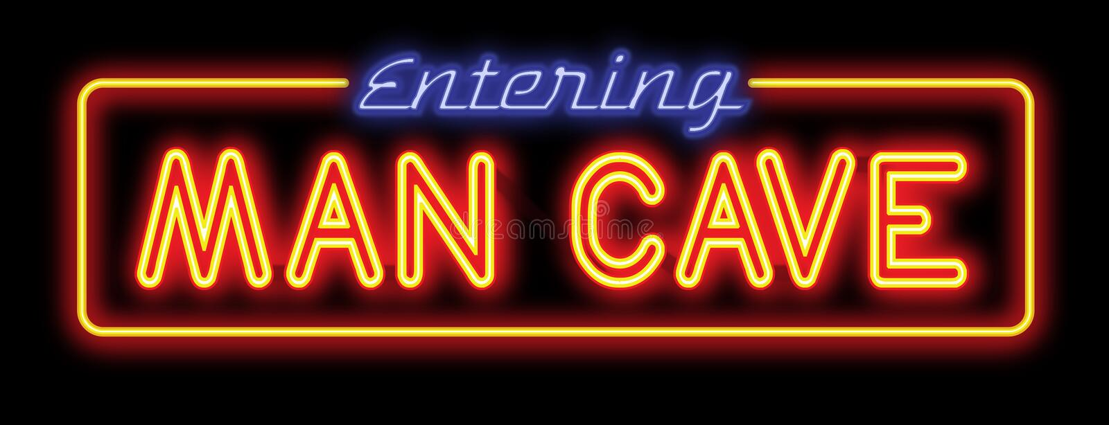 Man Cave Neon Sign. Entering Mens Room glow red yellow blue isolated fun party beer royalty free illustration
