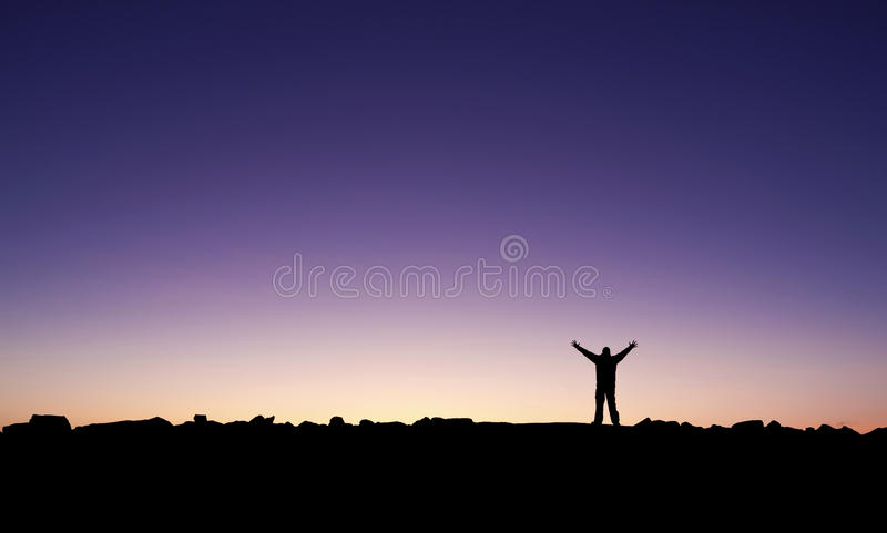 Man celebrating his achievement royalty free stock image
