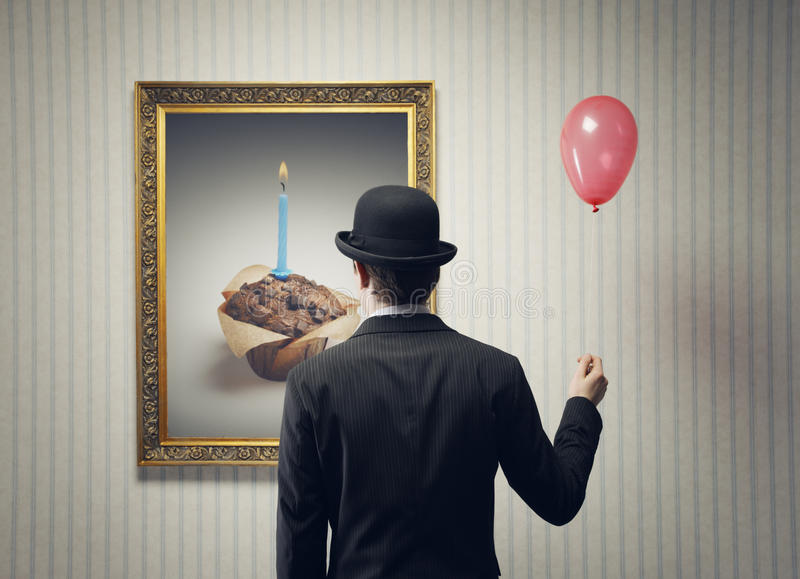 Birthday. Man Celebrating his birthday alone, conceptual image royalty free stock photos
