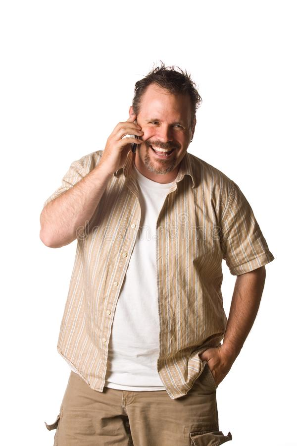 Man on cell phone stock photography