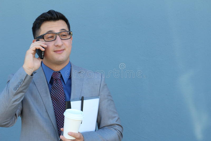 Man on cell phone interested in the call.  stock image
